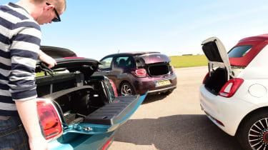 MINI Cooper Convertible vs Fiat 500C vs DS 3 Cabrio - group boot