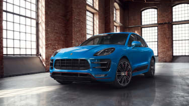 Porsche Macan Turbo Exclusive Performance Edition in blue front