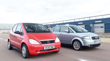 Mercedes A140 and Audi A2