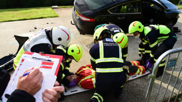 Fire crew road accident preparations tester