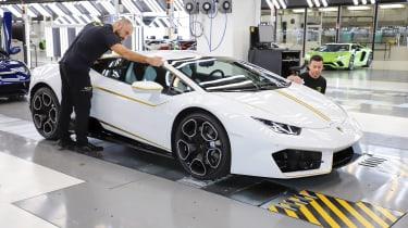 Pope Francis Lamborghini Huracan production line