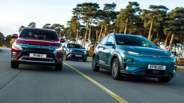 Hyundai Kona Electric vs Mitsubishi Outlander PHEV vs Toyota C-HR - header