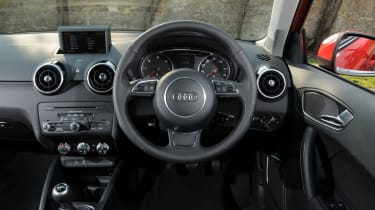 The interior has a up market feel with a 6.5-inch display screen and leather steering wheel.