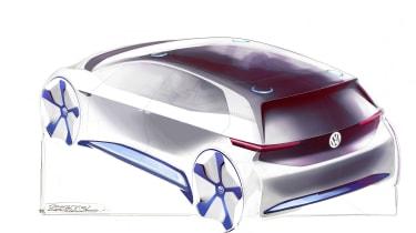 VW electric car Paris concept sketch rear