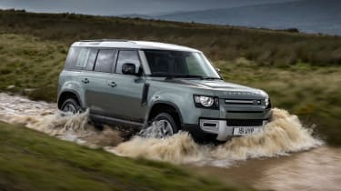 Land Rover Defender P400e PHEV - front off-road
