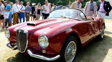The Lancia Aurelia (pictured: B24S Spider) was the first production car with a V6 engine.