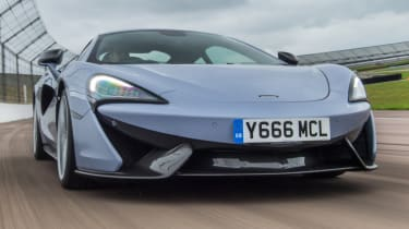 Mclaren 570s review - track pack front action