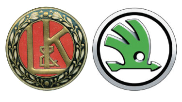 Skoda badges old and new
