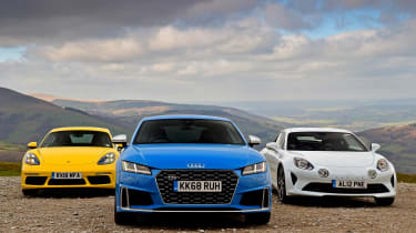Audi TTS vs Alpine A110 vs Porsche 718 Cayman - head-to-head