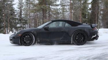 Porsche 911 cabriolet spy shot side