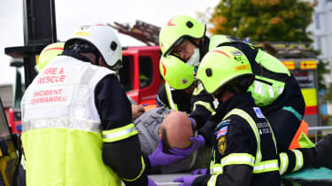 Fire crew road accident preparations medical aid