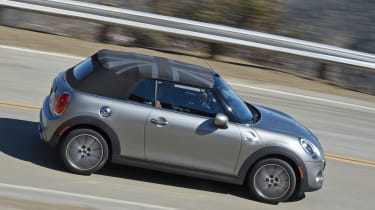 MINI Cooper S Convertible 2016 review - side tracking roof up