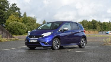 Nissan Note blue front quarter