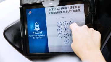 Ford Dominoes self-driving pizza delivery - tablet