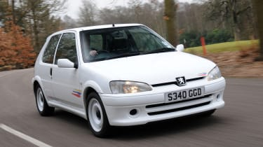 One more homologation hero, the 100bhp 106 Rallye was the result of Peugeot's fettling in order to enter the sub-1,300cc class of the World Rally Championship. And, what a car we were left with - light as a feather, with pin-sharp handling and phenomenal
