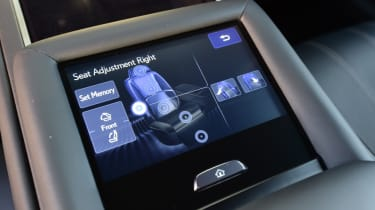 Lexus LS 500h 2018 review - infotainment screen seat