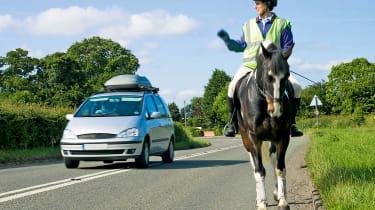 horse rider car passing