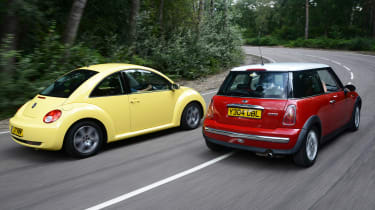 MINI Cooper vs VW Beetle - modern classic rear head-to-head