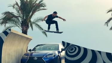 Lexus hoverboard - board over car.