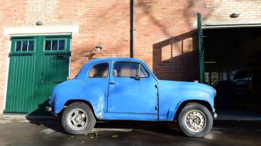 Blue classic car - side