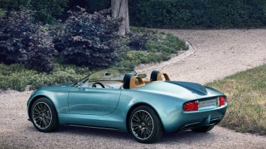 Inspired by classic racers of the 1950s and 60s, the two-seater roadster was handcrafted by Milan-based coachbuilders Touring Superleggera, injecting some Italian flair into the quintessentially British design.