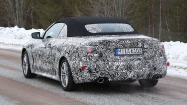 BMW 4 Series Convertible spies - rear 3/4 winter