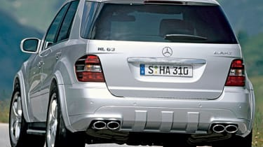 Rear view of Mercedes ML63 AMG