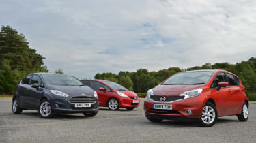 Ford Fiesta, Nissan Note, Honda Jazz hatchback 2013 group test