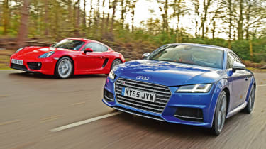 Used Porsche Cayman vs New Audi TTS - front