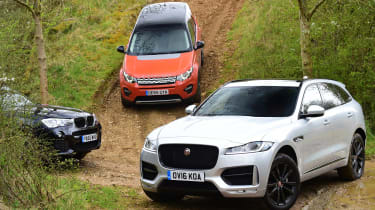 Jaguar F-Pace vs Land Rover Discovery Sport vs BMW X3 - off-road header