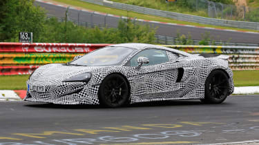 McLaren 600LT spy shots cornering