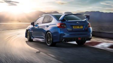 Subaru WRX STi Final Edition rear on track