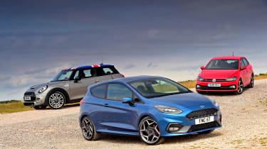 Ford Fiesta ST vs MINI Cooper S vs Volkswagen Polo GTI - static