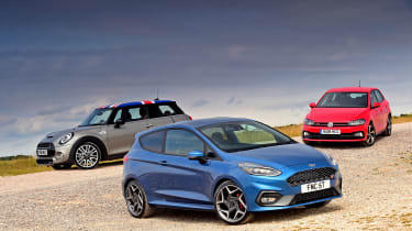 Ford Fiesta ST vs MINI Cooper S vs Volkswagen Polo GTI - static