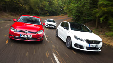 Peugeot 308 vs Volkswagen Golf vs Honda Civic - header