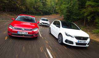 Peugeot 308 vs Volkswagen Golf vs Honda Civic - header