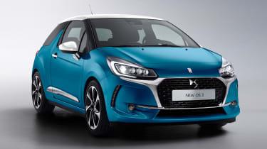 DS 3 hatchback - front quarter blue