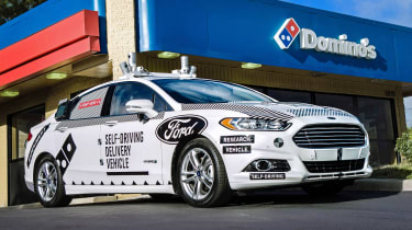 Ford Dominoes self-driving pizza delivery - front