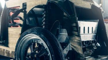 Flax fibre car - close up drivetrain