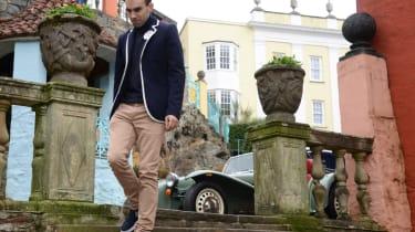 Caterham Seven road trip - walking down steps