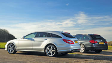 Mercedes CLS Shooting Brake and BMW 5 Series Touring rear static