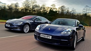 Porsche Panamera vs Tesla Model S - header