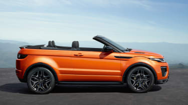 Range Rover Evoque Convertible side view roof down