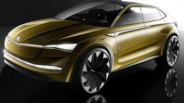 Skoda Vision E - sketch yellow front