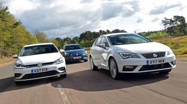 SEAT Leon vs Volkswagen Golf vs Vauxhall Astra - head-to-head action