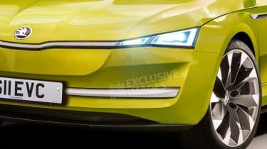 New Skoda EV sports car - front detail (watermarked)