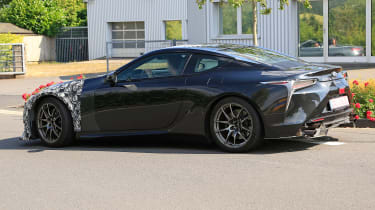 New Lexus LC F coupe spy shots rear