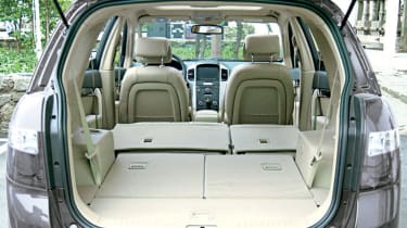 All five back seats drop down flat to give spacious and level luggage area