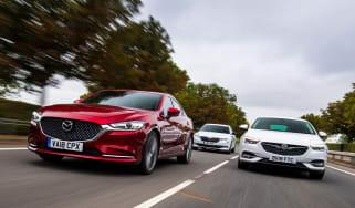 Mazda 6 vs Vauxhall Insignia Grand Sport vs Skoda Superb - header