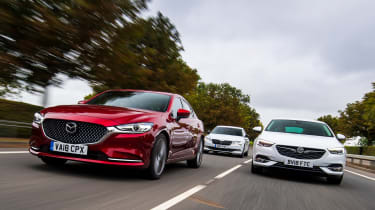 Mazda 6 vs Vauxhall Insignia Grand Sport vs Skoda Superb - header